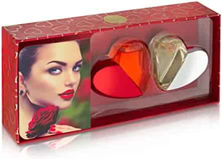 Beach Gal Heart Shaped Valentines Perfume Gift Set, Red/Silver (1 fl oz each)