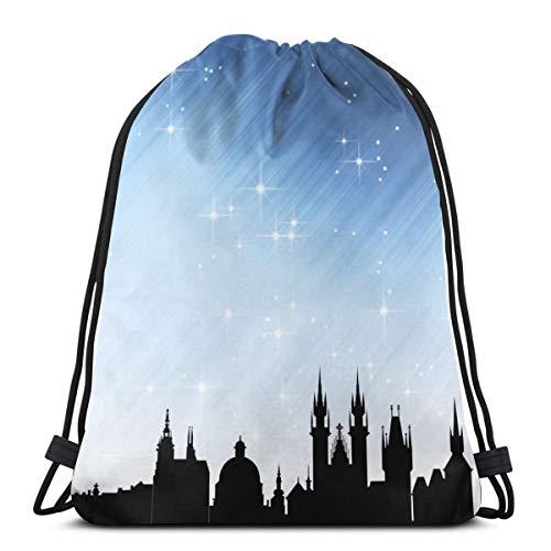 Mefond Drawstring Backpack Bag,Cinch Sack,Gym Sack,for Girls Or Men Shopping,Sport,Gym,Yoga,School,Prague -