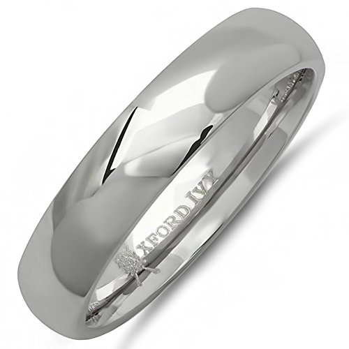5mm Titanium Band Ring - Oxford Ivy 5mm Mens Comfort Fit Titanium Plain Wedding Band (Available Ring Sizes 7-12 1/2) Size 9