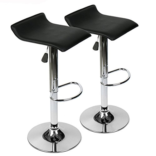 360 Degree Swivel Adjustable Bar Stool, Mordern Leather Pub Chair, Set of 2, Black
