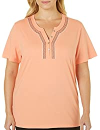 Plus Embroidered Henley Neck Top