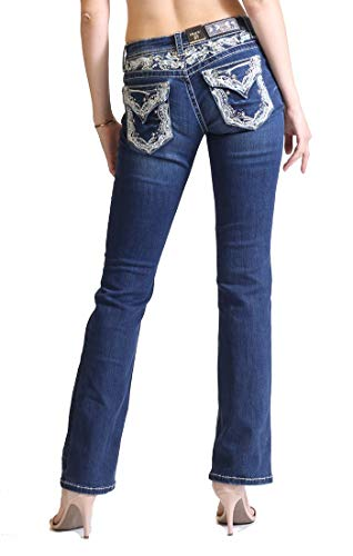 Grace in LA Easy Fit Floral Embellished Dark Wash Boot Cut Jeans EB-51299 w/Size 32 33 34 (29)