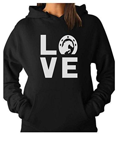 Love Horses - Animal Lover Rearing Horse - Gift for Horse Lover Women Hoodie Medium Black