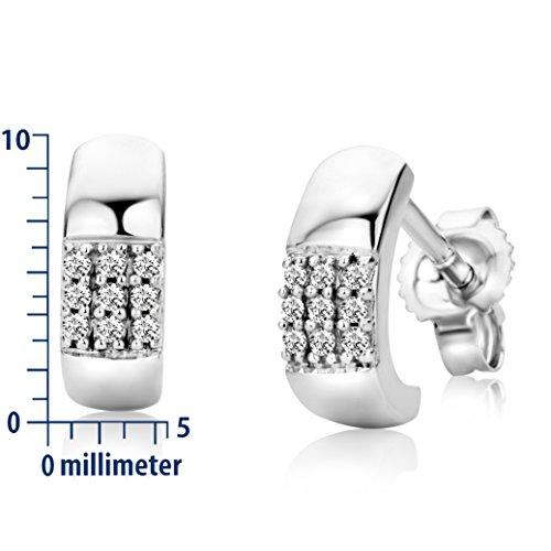Miore - SA968E - Boucles d'Oreille Femme - Or Blanc 9 Cts 375/1000 0.98 Gr - Diamant