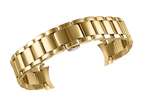 (autulet 14mm Brilliant Gold SS Watch Bracelet Replacement for Ladies Solid Stainless Steel Oyster Style Bent End)