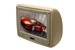 Absolute COM1210IRC 12-Inch TFT LCD Monitor Loaded in Cream Leather Headrest with Built-in IR Transmitter