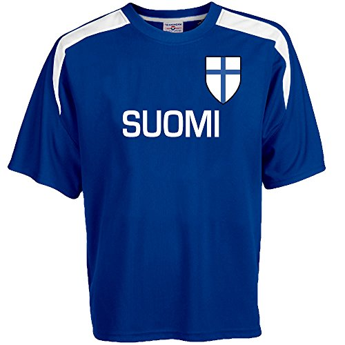 Customized Finland Soccer Jersey Adult medium in Royal Blue and