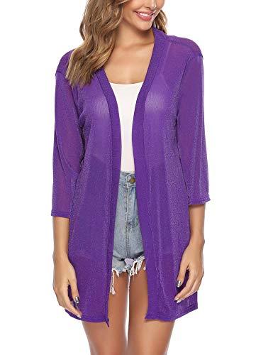 iClosam Women Casual 3/4 Sleeve Sheer Open Front Cardigan Sweater (#2Purple(Sequin), XX-Large)