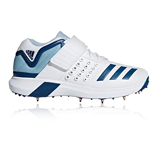 adidas Adipower Vector Mid Mens Adult Cricket Spike Shoe White/Blue - UK 9
