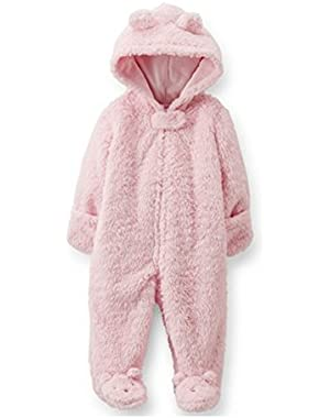 Carters Infant Girls Plush Pink Faux Shearling Coverall Snowsuit Baby Pram