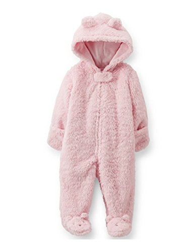 Carters Infant Girls Plush Pink Faux Shearling Coverall Snowsuit Baby Pram 9m