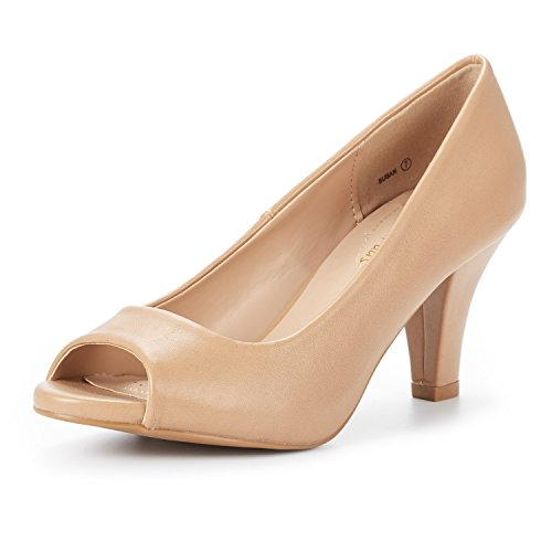 DREAM PAIRS Women's Susan Nude PU Fashion Stilettos Peep Toe Pumps Heels Shoes Size 9 B(M) US