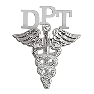 NursingPin Doctor of Physical Therapy DPT Graduation Pin with Diamond in Silver