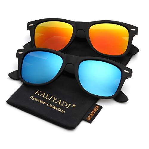 Polarized Sunglasses for Men and Women | Matte Finish Sun glasses | Color Mirror Lens | 100% UV Blocking -