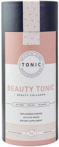 TONIC: Beauty Collagen Powder & Dietary Supplement for Healthy Skin, Nails & Hair, Anti Cellulite & Stretch Marks, Paleo + Keto Friendly, Bulletproof Collagen, Unflavored, 20 Servings