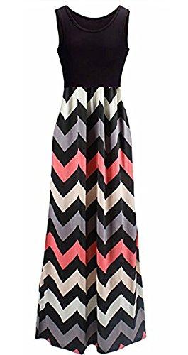 womens-chevron-striped-zig-zag-sleeveless-tank-long-maxi-dress-black-pink-l
