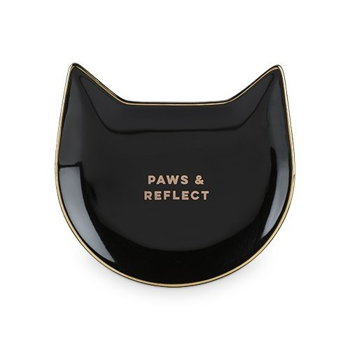 Coffee Tea Tray, Paws Reflect Black Cat Ceramic Cute Decorative Trays For Tea by Pinky Up