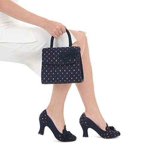 Ruby Shoo Women's Lola Mid Heel Court Shoe Pumps & Matching Kingston Bag Navy Multi dDy8n4wABE