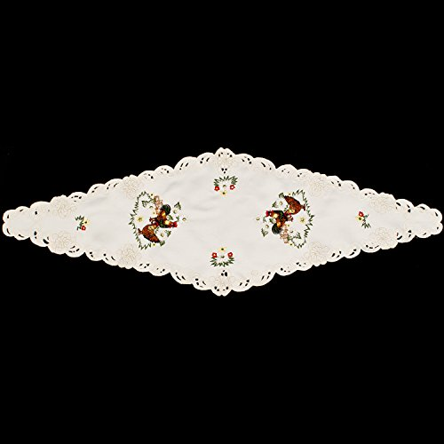 Linens, Art and Things Embroidered Rooster & Hen Kitchen Table Runner 14 W x 24 L Diamond Shaped Machine Washable