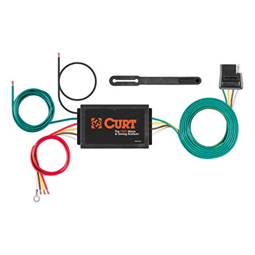 CURT 56146 Powered 3-to-2-Wire Splice-in Trailer Tail Light Converter with 4-Pin Wiring Harness ()