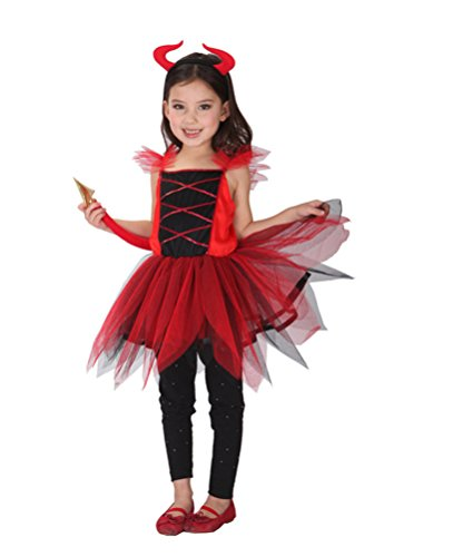[Nuoqi Sweet Girls Devil Costumes Child Red Dress Halloween Costumes (Medium, 4-6 Years)] (Red Devil Child Costume)