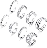 Hanpabum 8Pcs Open Toe Rings for Women Girls Cute CZ Flower Toe Rings Adjustable Tail Ring Foot Jewelry Set