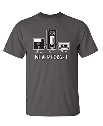 (Never Forget Funny Retro Music Mens Novelty Funny T Shirt XL Charcoal)