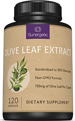 Premium Olive Leaf Extract Capsules - Standardized to 20% Oleuropein - Super Strength Olive Leaf Exact Supplement Supports Immune System & Cardiovascular Health - 750mg Per Capsule - 120 Capsules
