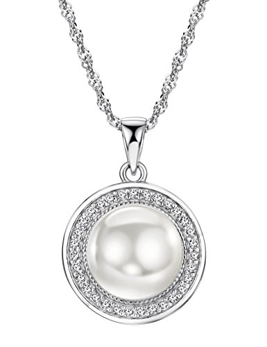 Freshwater Pearl Necklace Sterling Silver Pendant Cubic Zirconia Jewelry for Women 16-18 inch ()