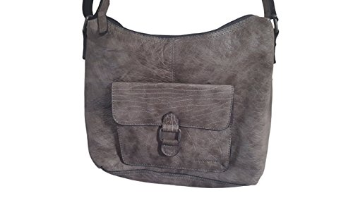 Jack Georges Voyager Collection Hobo Bag with Front Pocket 7614 Pewter by Jack Georges