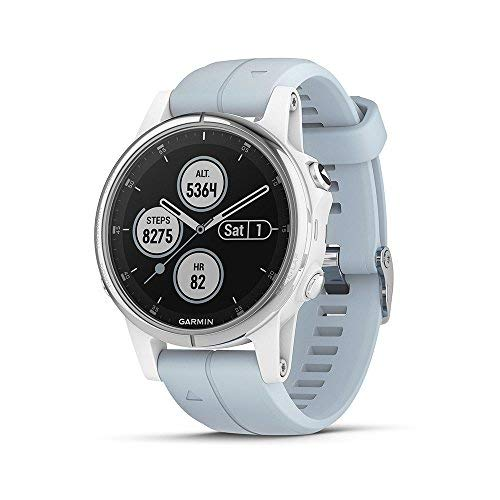 Garmin fēnix 5S Plus, Smaller-Sized Multisport GPS Smartwatch, Features Color TOPO Maps, Heart Rate Monitoring, Music and Garmin Pay, Silver/White w/Light Blue Band