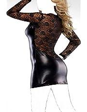 فستان قصير جلد للسهرات أسود