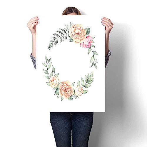 Wall paintings Watercolor illustration Botanical wreath with green branches and peonies Spring mood Floral Design elements Perfect for invitations greeting cards prints posters packing Modern Wall Ar ()