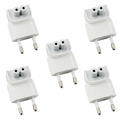 Aike® Ac Power Adapter Us to Europe Wall Plug Duck Head White For Apple Mac/iBook/iPhone/iPod 5Pack