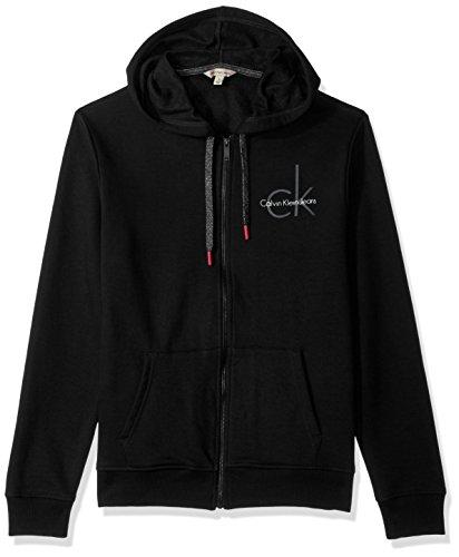 Zip Hooded Cardigan Full (Calvin Klein Jeans Men's Full Zip CK Logo Hoodie, Black Combo, Large)