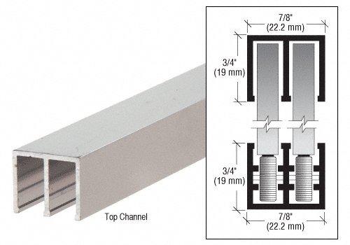 Polished Aluminum Finish Rollertrack Top Track 2 m Length, 21 mm Wide, 18 mm High