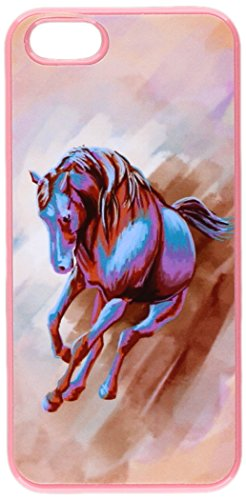 Graphics and More Horse Running Abstract Red Blue - Painterly Expressionism - Snap-On Hard Protective Case for Apple iPhone 5/5s - Non-Retail Packaging - Pink