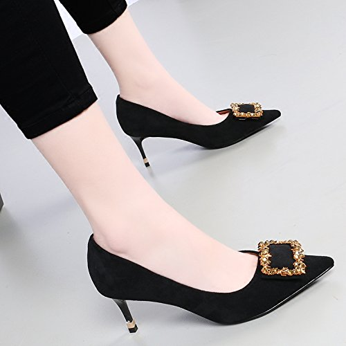 Female The Tie Shoes Fine Single Drill Shoes With Tip Water Light High Wedding Black 6 A Satin Heeled KPHY Wild 5Cm Shoes Spring To d0qZBd