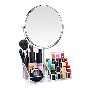 7 Inch Vanity Makeup Mirror With Makeup Organizer 1x 3X Magnifyi