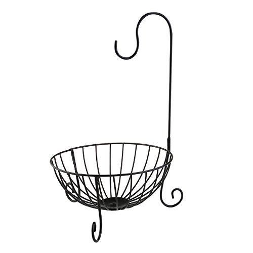 NUOLUX Fruit Basket with Detachable Banana Hanger Wrought Iron Material Height 41CM Color - Iron Wrought Material