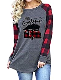 NANYUAYA Women Merry Christmas Plaid Splicing Long Sleeve Baseball T-Shirt Tee Tops