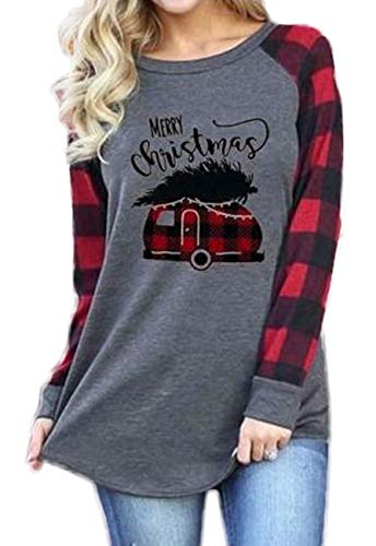 Merry Christmas Truck Tree Graphic Cute Shirt Women's Plaid Splicing Long Sleeve Raglan Tees Baseball Tops Size X-Large (Gray)
