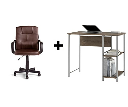 Mainstays Garrett Metal Student Desk Rustic Oak with Brown Mid-Back Office Chair