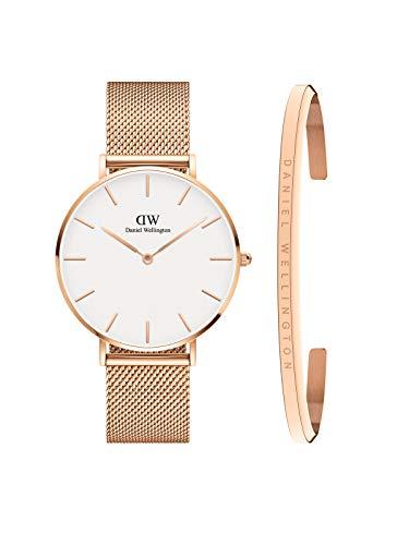Daniel Wellington Unisex Petite Melrose Watch and Bracelet Combo Gift Set, 36mm, Rose Gold