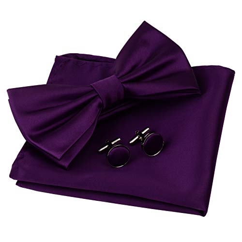 Purple Bow Tie (GUSLESON Mens Solid Purple Bow Tie Pre-tied Wedding Bowtie and Pocket Square Cufflink Set With Box)