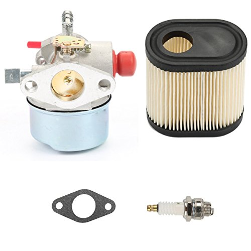 - 640350 Carburetor w/Air Filter Spark Plug for Tecumseh LEV100 LEV105 LEV120 LV195EA LV195XA Carb 640303 640271 TOTO Craftsman Engine Lawn Mower