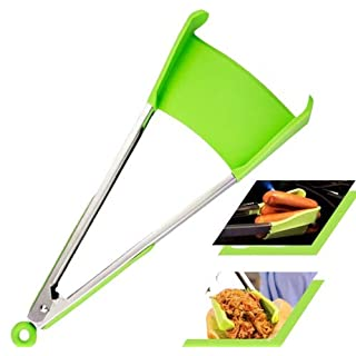 2 in 1 Silicone Kitchen Spatula & Tong- Multi Purpose Food Cooking & Serving Utensil with Heavy Duty Stainless Steel Frame. Size 12 INCH Color Green