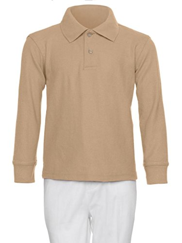 AKA Boys Wrinkle-Free Polo Shirt - Long Sleeve Pique Chambray Collar Comfortable Quality Khaki - 2 Pique Color