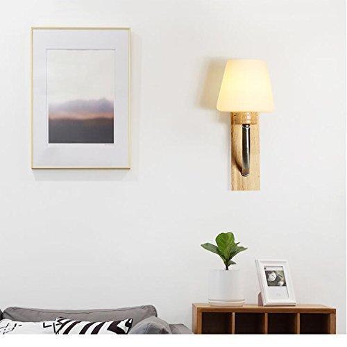 505 HZB Creative Modern Nordic Solid Wood Bedside Lamp Living Room Bedroom Wall Lamp ()