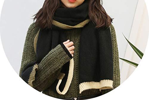 warm wild scarf winter temperament sweet thick warm trend double side shawl,Black,onesize